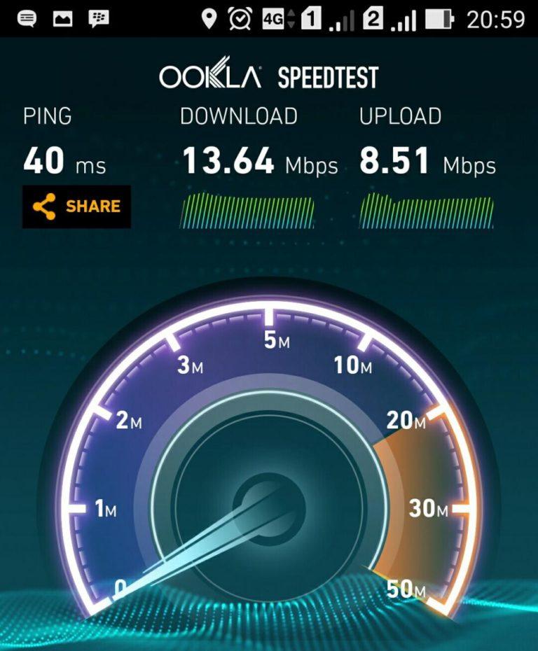 Indosat 4G LTE Mobile Data Internet Speed Test di Bandung