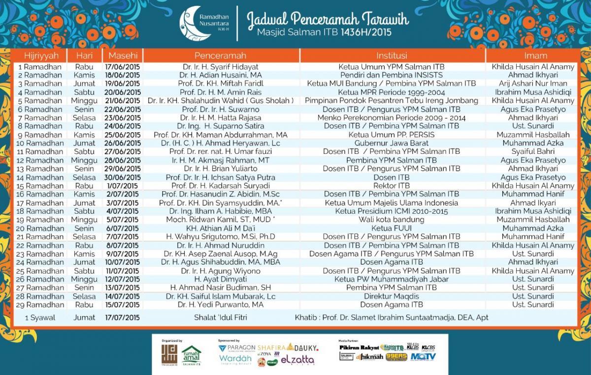 Jadwal Penceramah Tarawih Masjid Salman ITB Ramadhan 1436 H/2015