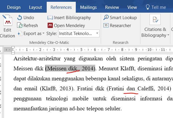 Microsoft Word paper citation style using Indonesian language