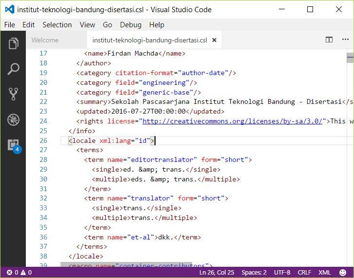 Edit A Citation Style Language (CSL) file using Visual Studio Code